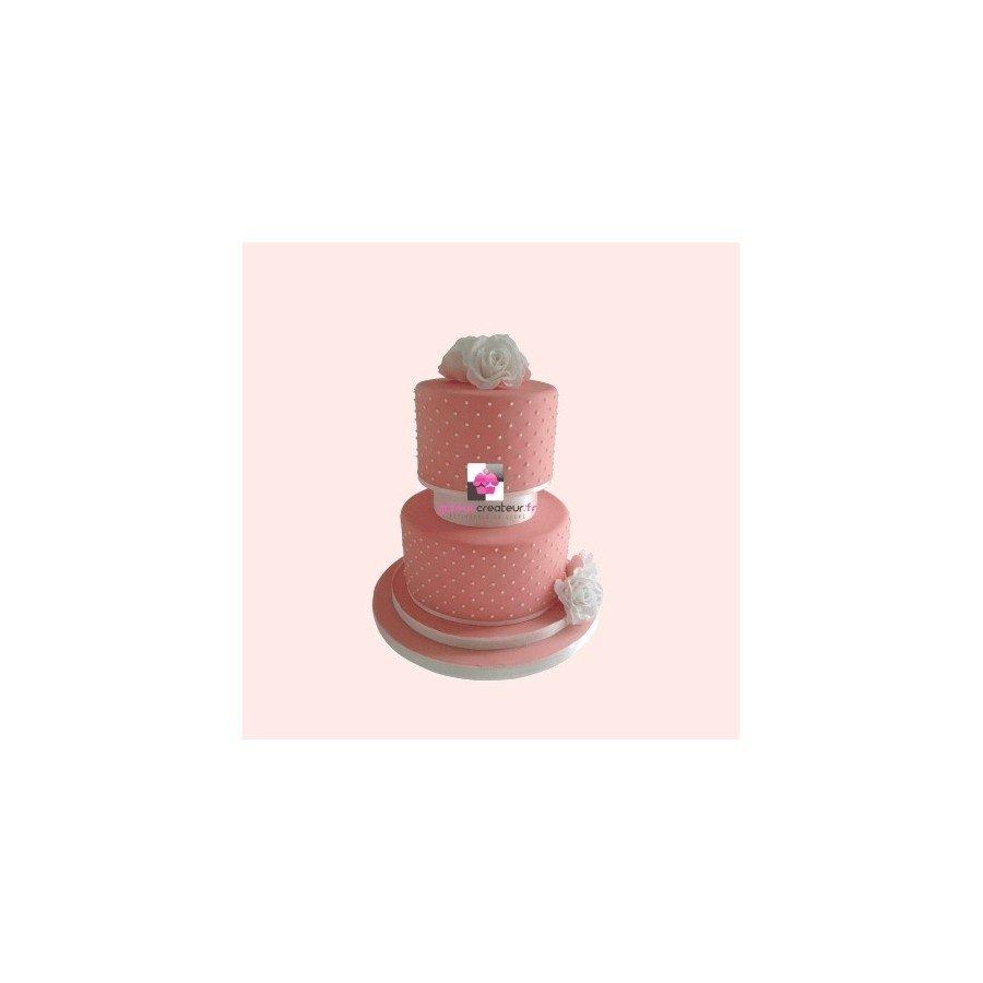 Gâteau d'anniversaire Rose et perles - Pièce montée