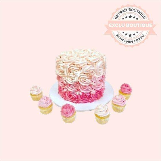 Gâteau d'anniversaire Ruffle Cake rose et ses 6 cupcakes