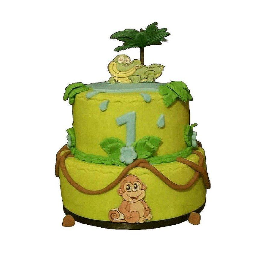 Pièce montée - Gâteau jungle avec singe et crocodile