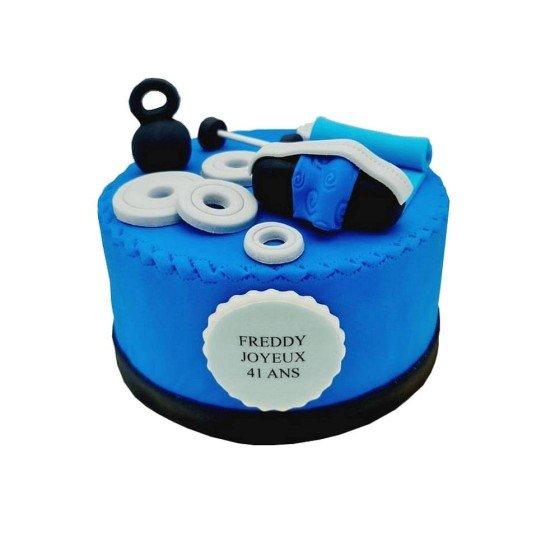 Gâteau Musculation Bleu