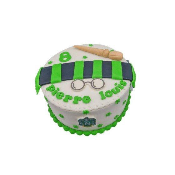 Gateau anniversaire Harry Potter blanc et vert