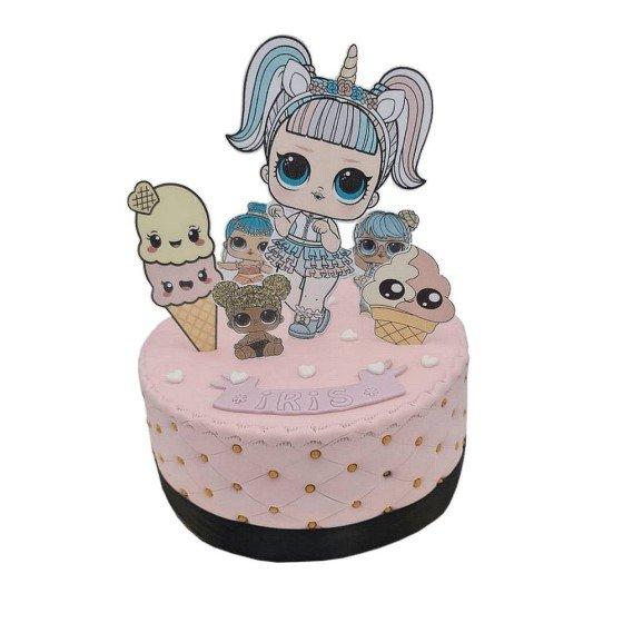 Gâteau Poupée Lol rose avec perles dès