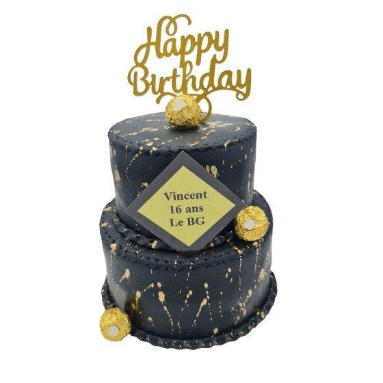 Gâteau pièce montée noir et doré dès