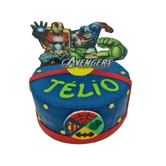 Gâteau Avengers bleu dès