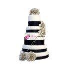 Pièce montée mariage ruban noir - Wedding cake blanc