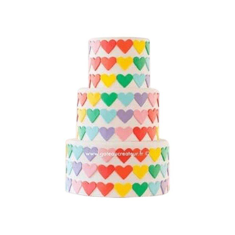 Pièce montée, Gâteau d'anniversaire Coeur Colorés