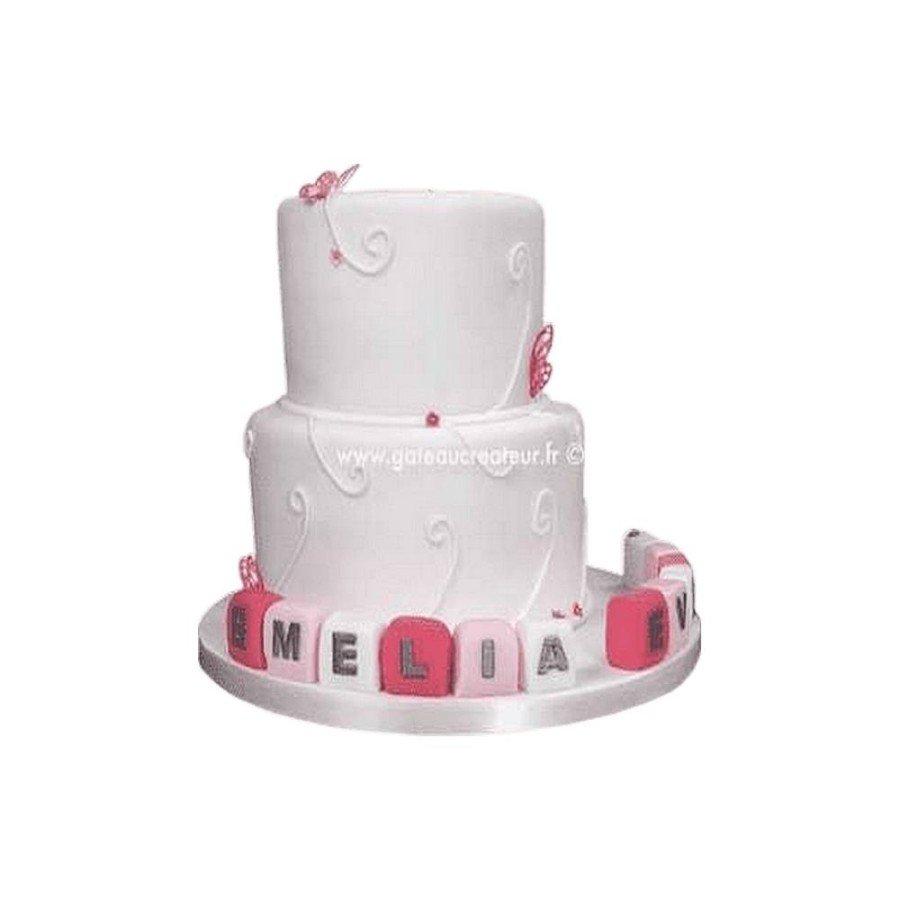 Gâteau d'anniversaire Papillons et Cubes
