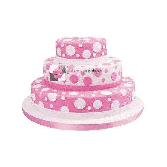 Gâteau d'anniversaire - Pièce montée rose à Pois