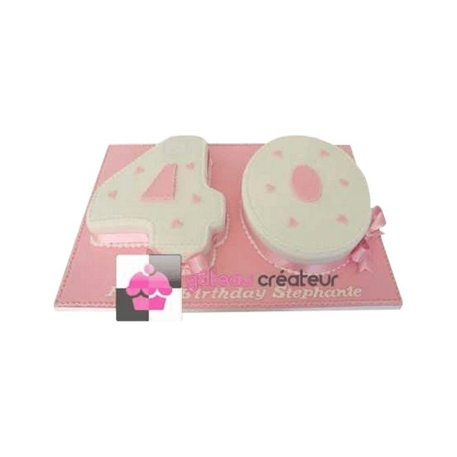 Gâteau d'anniversaire Chiffres, ruban Rose