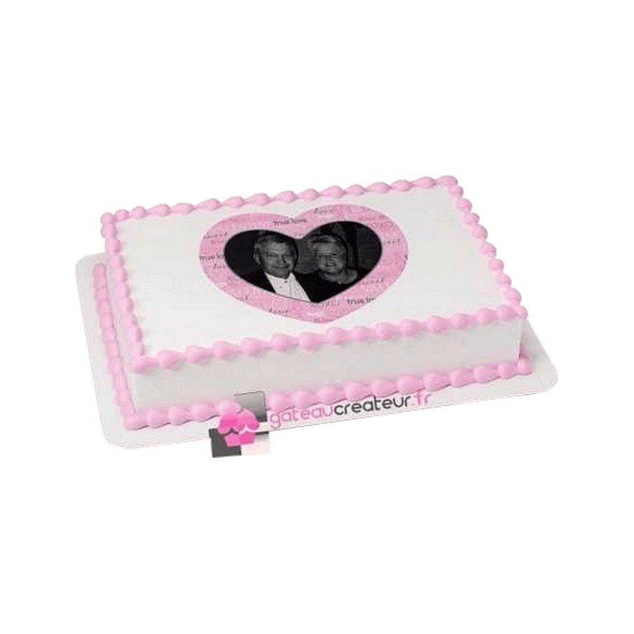 Gâteau Photo personnalisable Coeur
