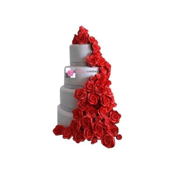 Pièce montée Mariage Cascade Roses Rouges - Wedding cake