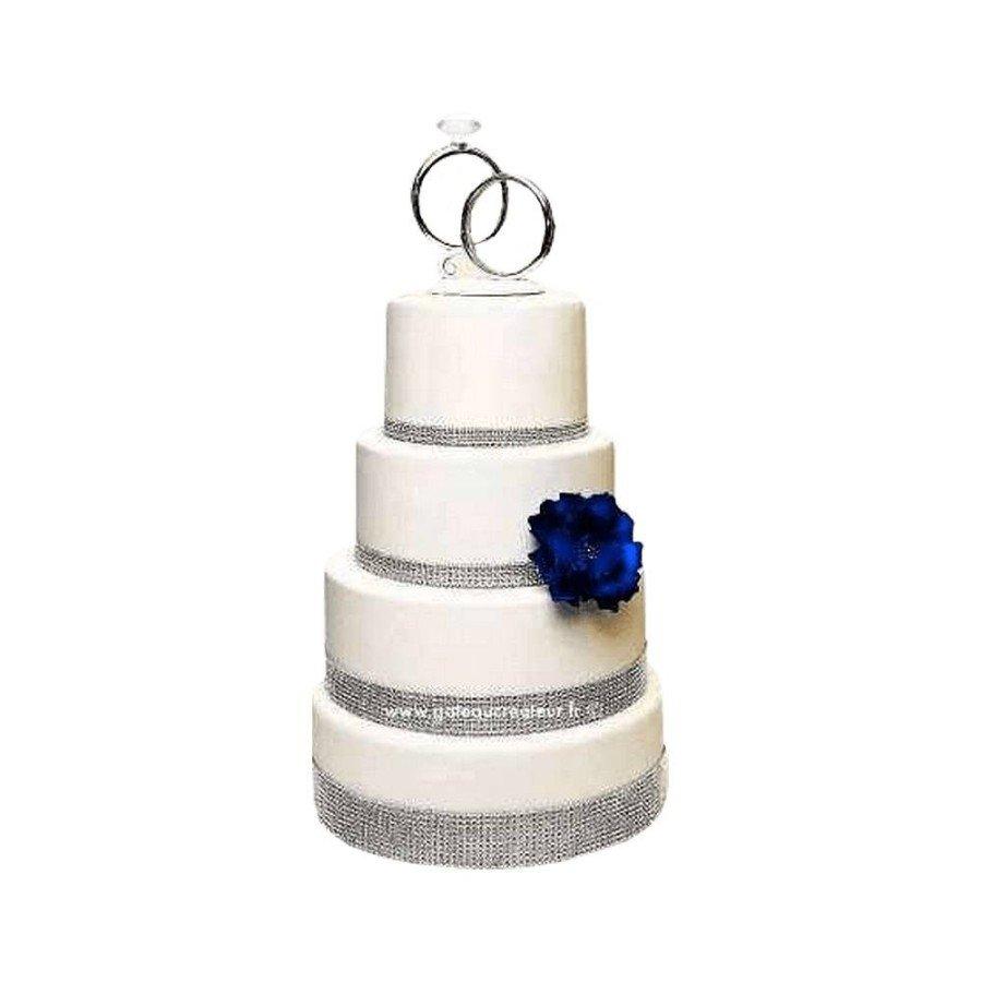 Pièce montée Mariage Strass Fleuri - Wedding cake