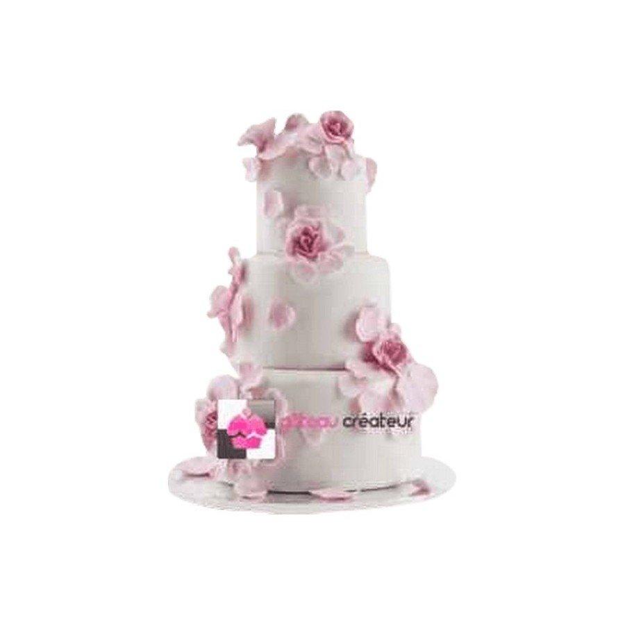 Pièce montée Mariage Pétales Roses Violettes - Wedding cake