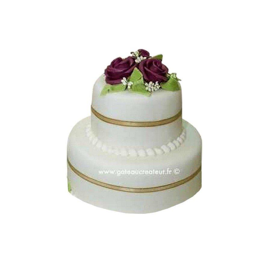 Pièce montée Mariage Ruban Or - Wedding cake