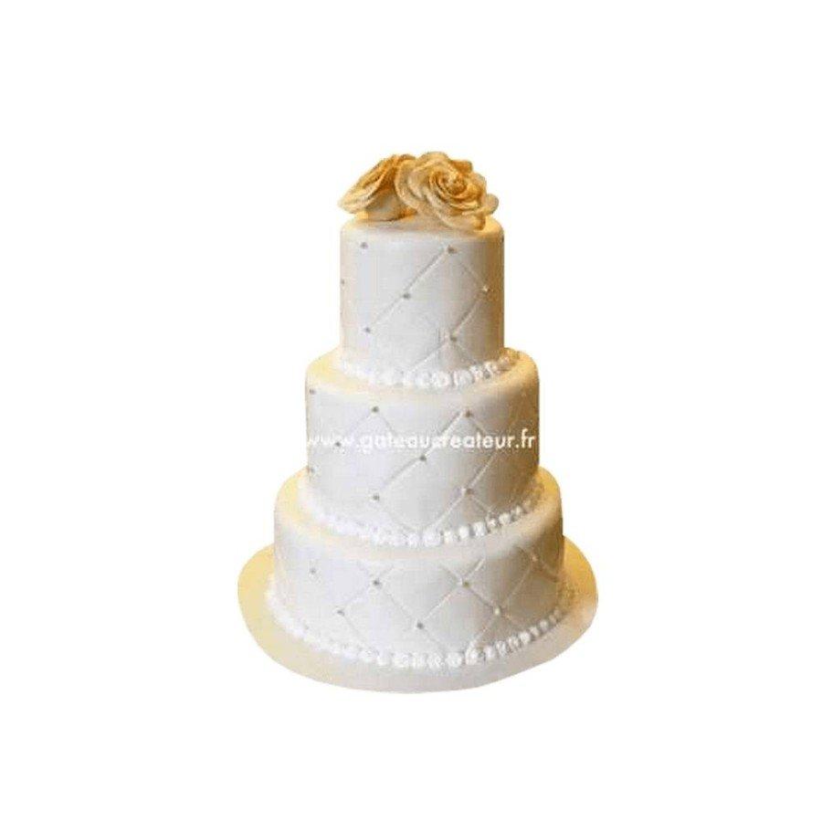 Pièce montée mariage Damier et Roses - Wedding cake blanc