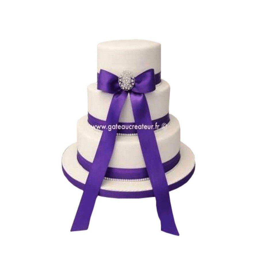 Pièce montée Mariage Ruban Violet - Wedding cake