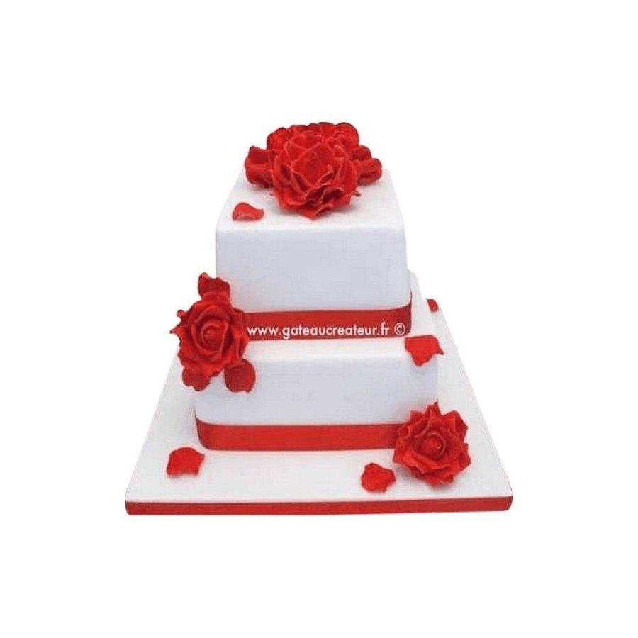 Pièce montée Mariage Roses Rouges - Wedding cake