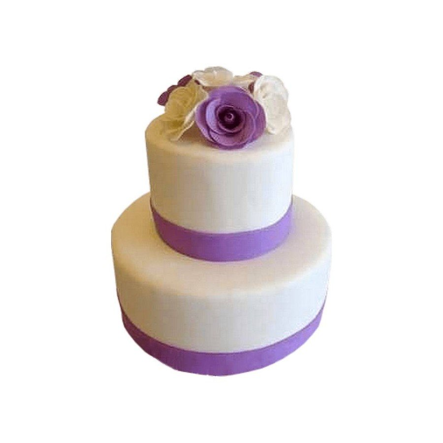 Pièce montée Mariage Ruban violet, Roses topper- Wedding cake