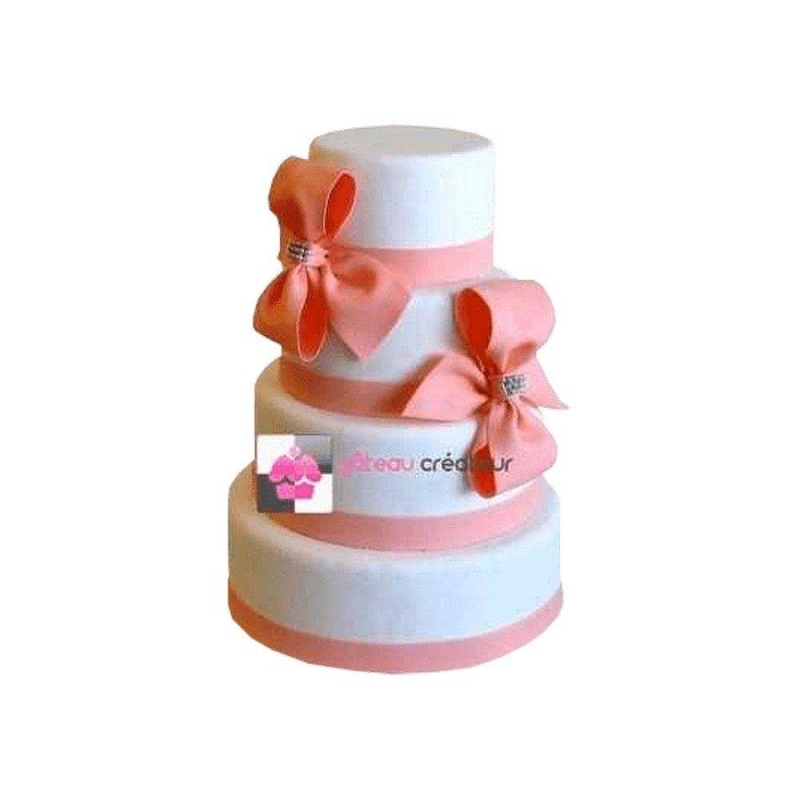 Pièce montée Mariage Ruban Pêche - Wedding cake