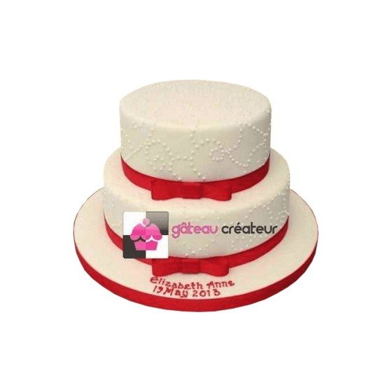Wedding cake Ruban rouge et Perle - Pièce montée Mariage