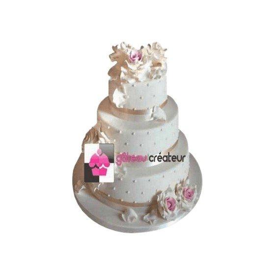 Wedding cake Roses, Pétales et Perles - Pièce montée mariage