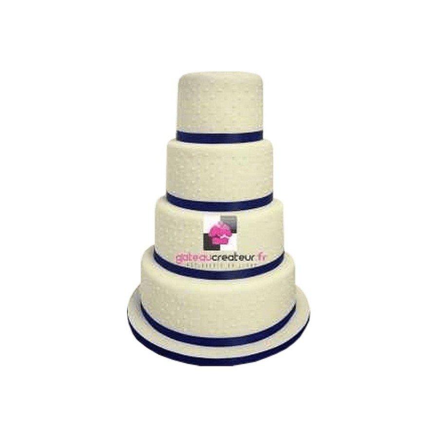 Wedding cake Ruban vert et perles - Pièce montée mariage