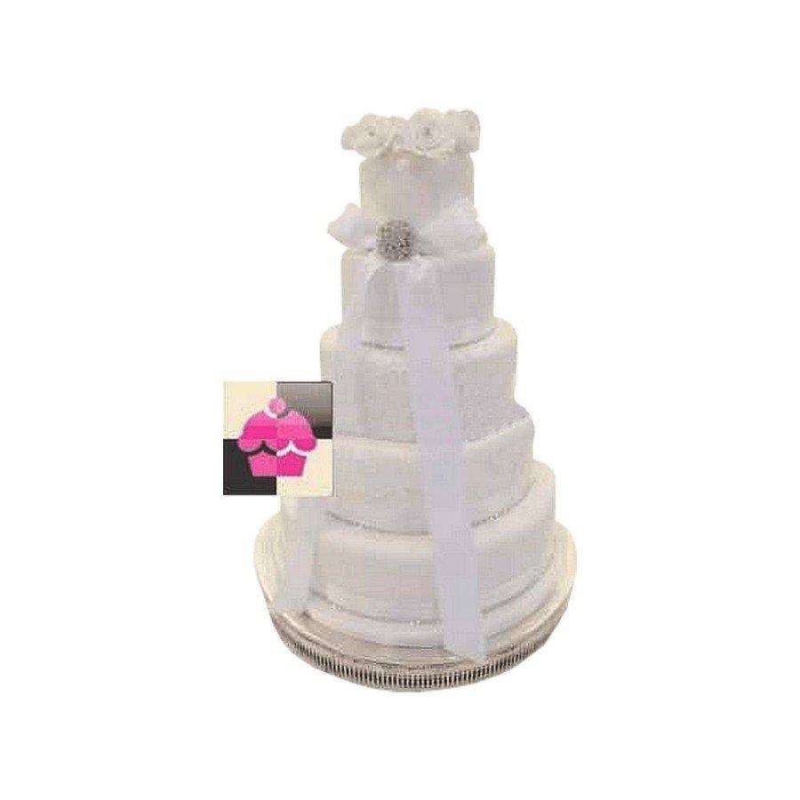 Wedding cake Ruban Blanc Broche strass - Pièce montée mariage