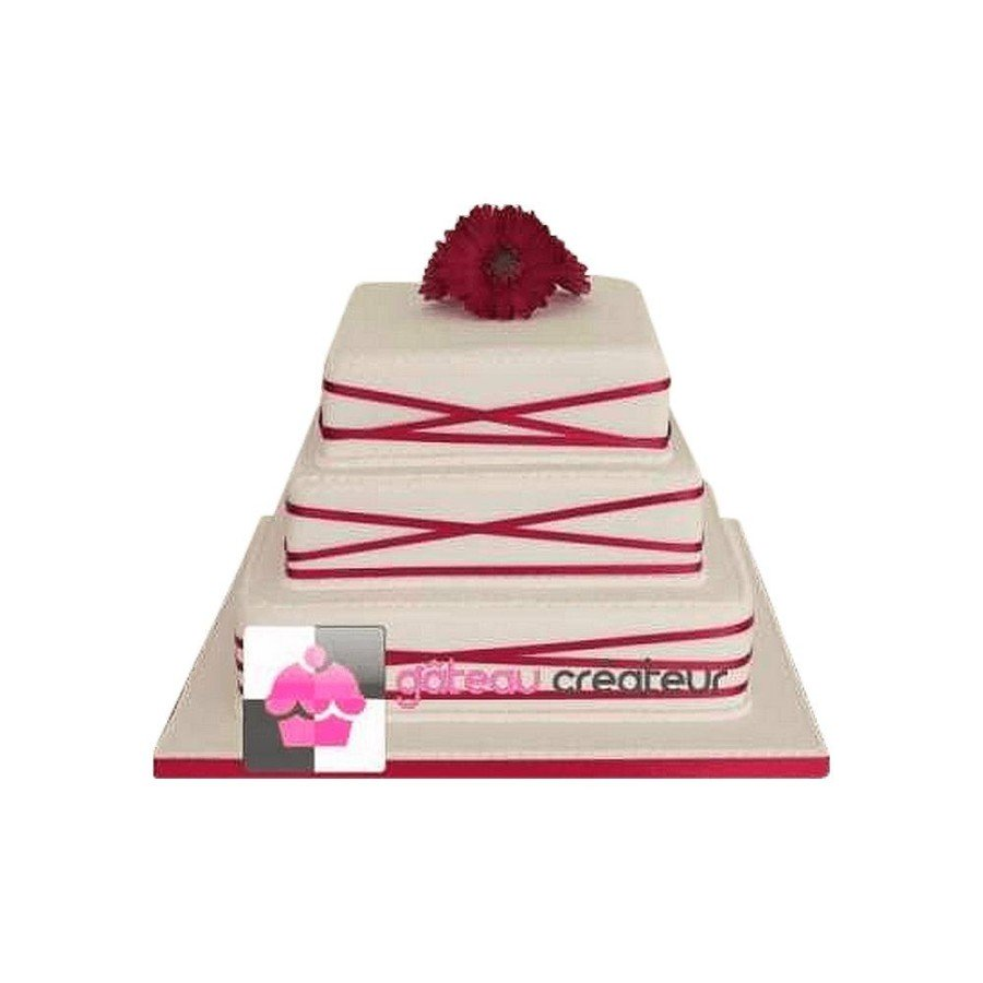 Wedding cake Ruban rouge et marguerite - Pièce montée mariage
