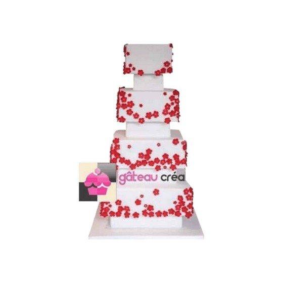 Wedding cake carré et fleurs rouges - Pièce montée mariage