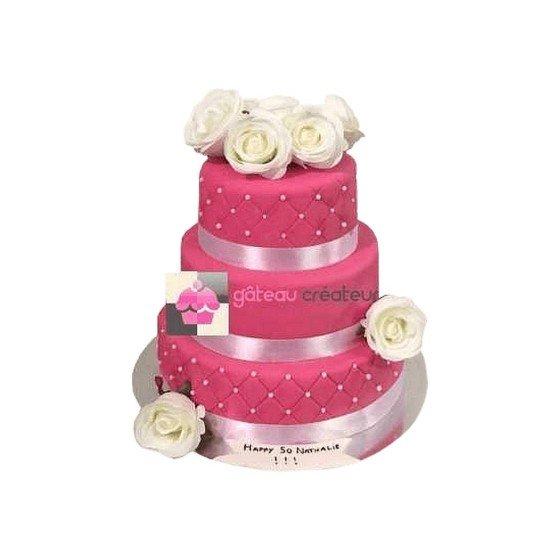 Wedding cake Rose fushia - Pièce montée mariage