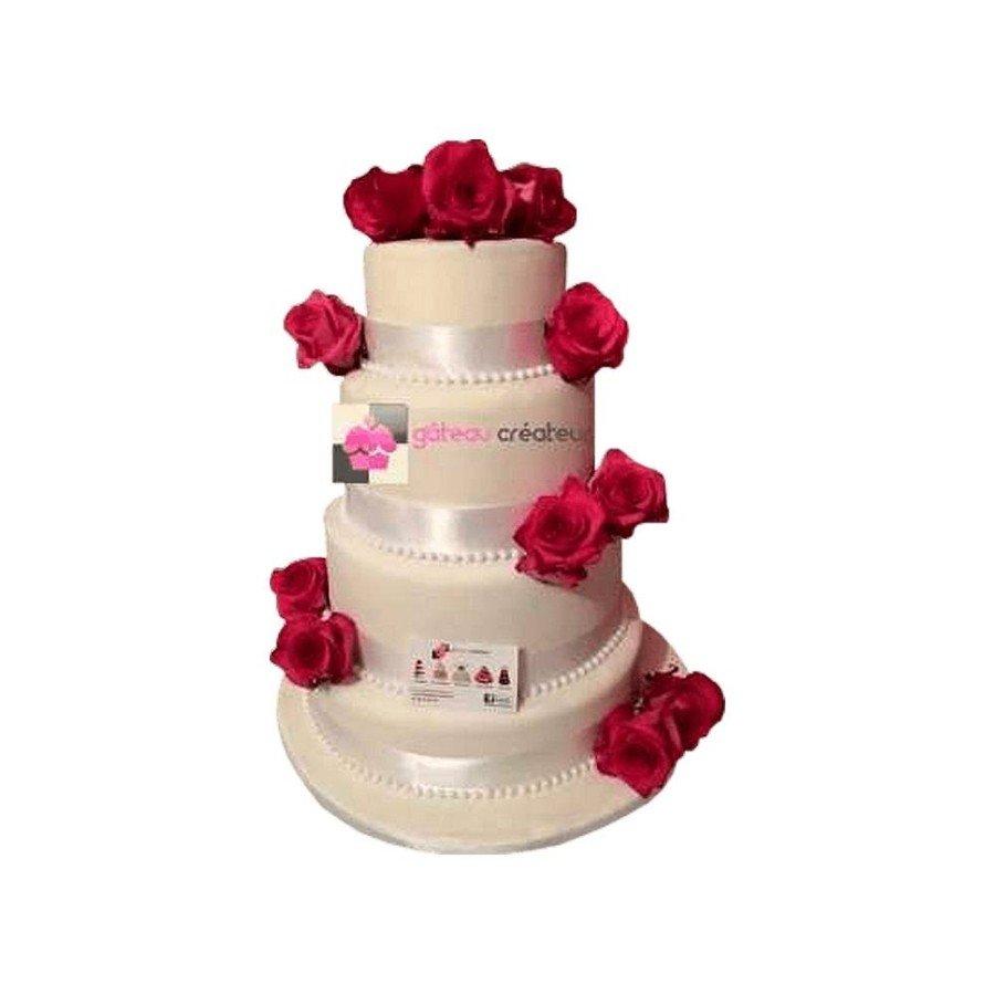 Wedding cake Personnalisable - Pièce montée de mariage avec ruban et roses