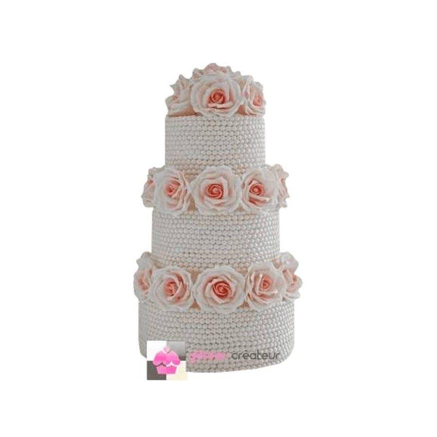 Wedding cake Perles et Roses - Pièce montée de mariage