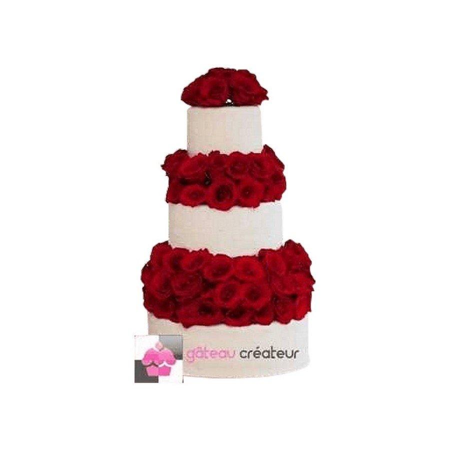 Wedding cake Roses rouges - Pièce montée de mariage