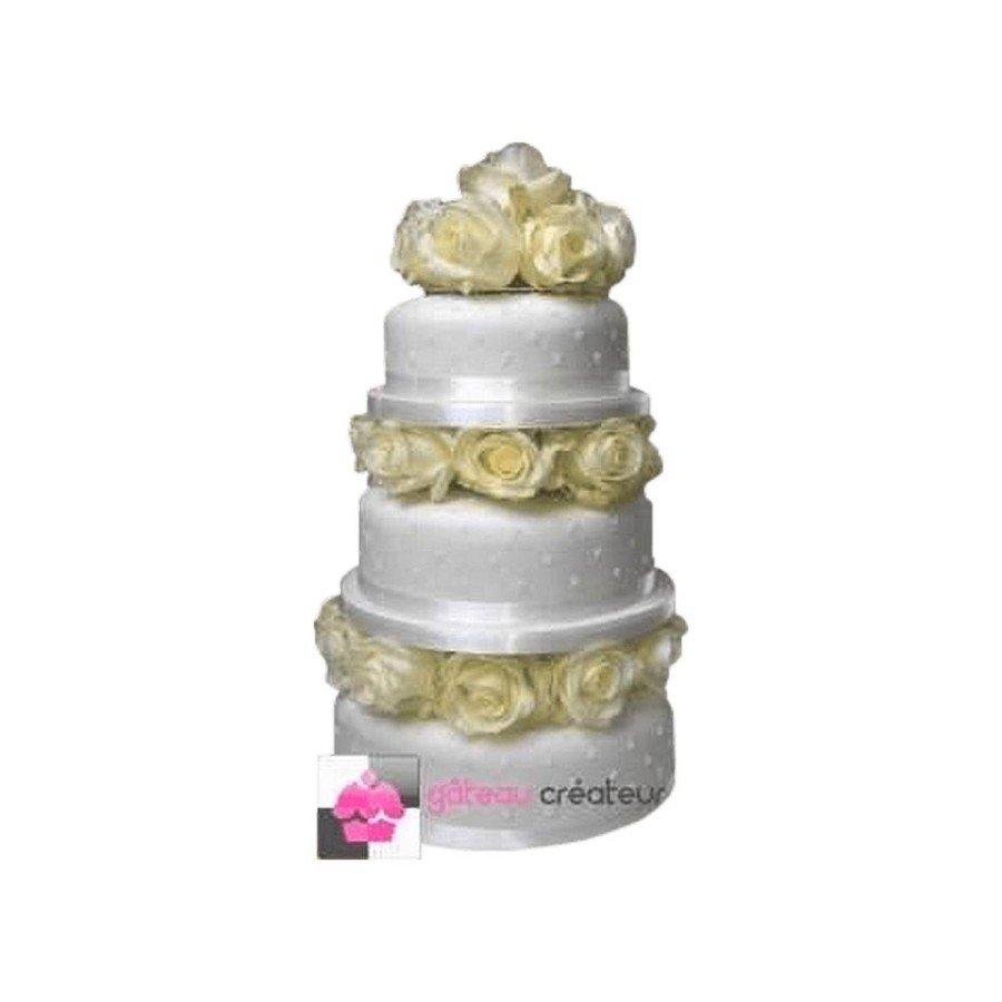 Wedding cake Roses Blanches - Pièce montée de mariage