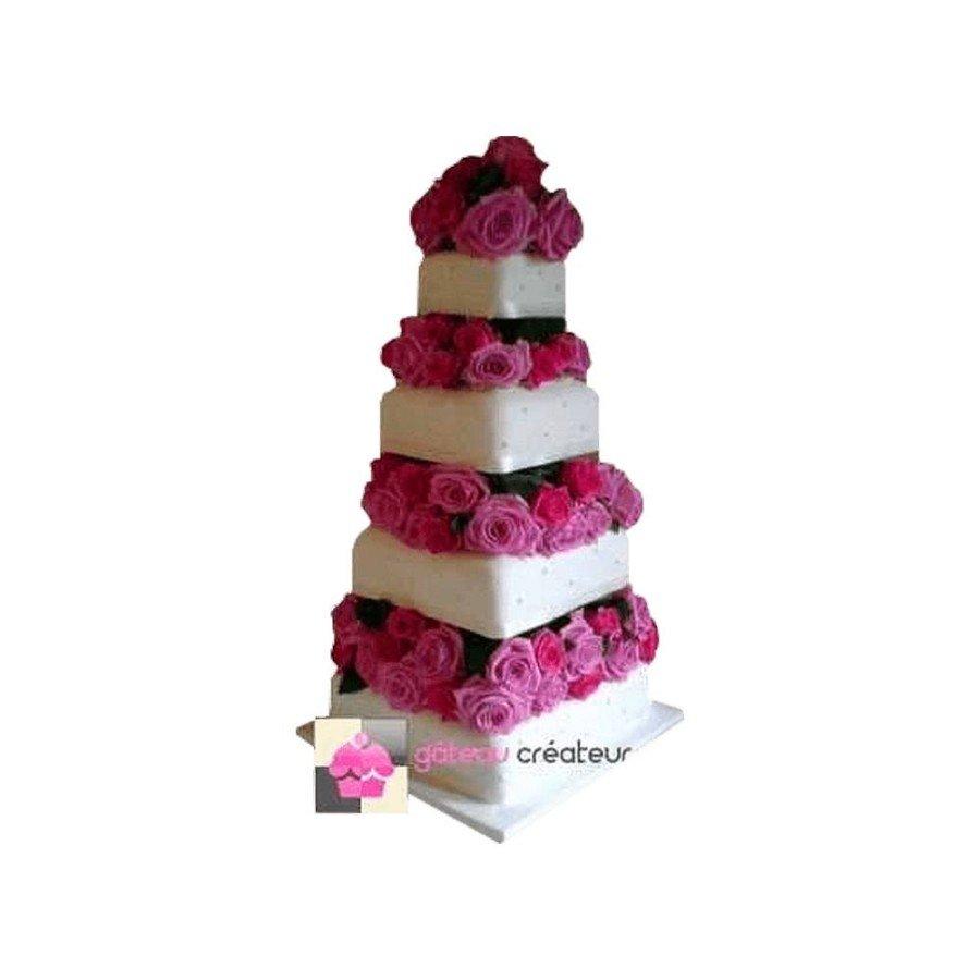 Wedding cake Dégradé de Roses - Pièce montée de mariage