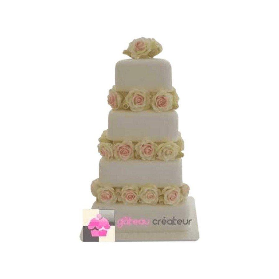 Wedding cake Carré Roses - Pièce montée de mariage
