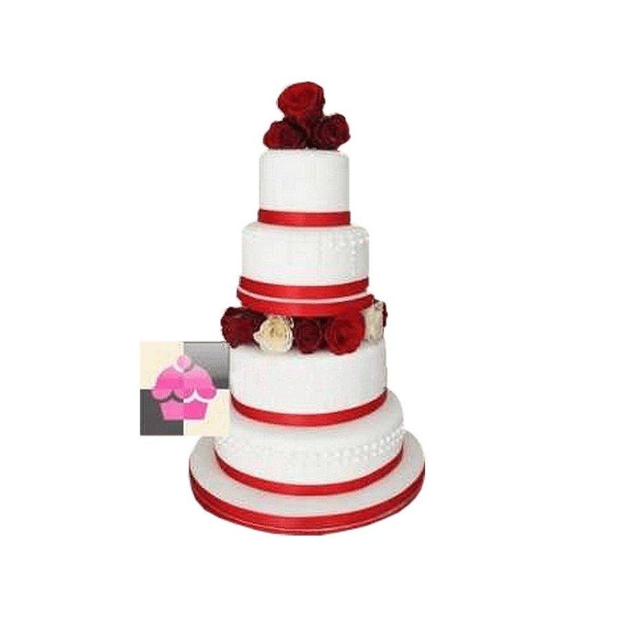 Wedding cake Ruban floral rouge - Pièce montée de mariage