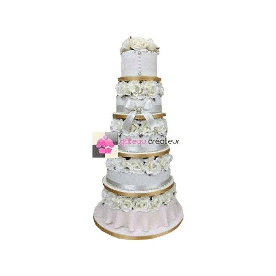 Wedding cake Couture et Strass - Pièce montée de mariage