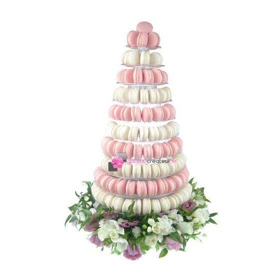 Pyramide 240 macarons rose et blanc