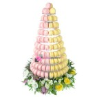 Pyramide 240 macarons rose et jaune