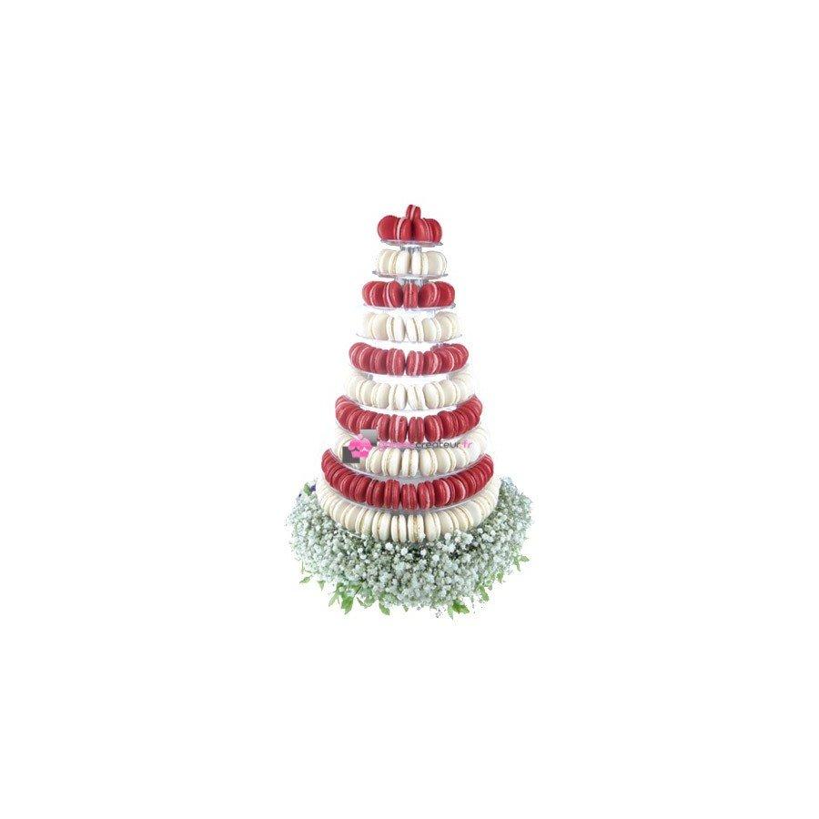 Pyramide 240 macarons rouge et blanc