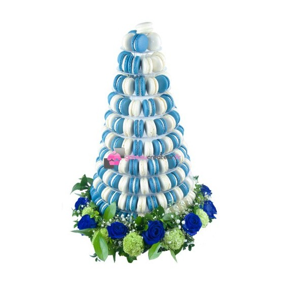 Pyramide 240 macarons bleu et blanc